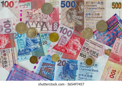 Different Hong Kong Currency money, a set of Dollar banknotes and coins