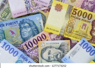Different Hungarian banknotes, 1-5-10 and 20 thousand HUF. Europe Hungary.