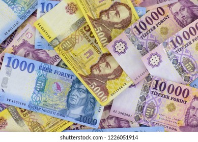 Different Hungarian banknotes, 1-5-10 thousand HUF. Europe Hungary.