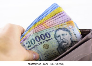 Different Hungarian banknotes, 1-5-10-20 thousand forints in a wallet. Europe Hungary.