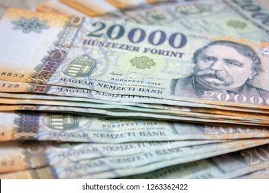 Different Hungarian banknotes, 20 thousand HUF. Stack of 20000 forints.