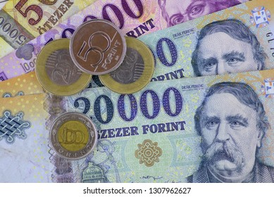 Different Hungarian banknotes and coins, 5-10-20 thousand forints. Europe Hungary.