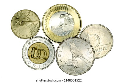 Different Hungarian forint coins.