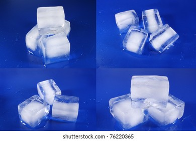 Different Ice Cubes on a blue background