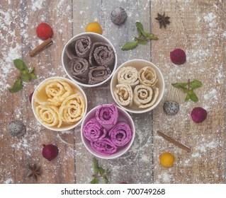 Different ice-cream rolls, fried ice-cream assortment