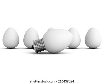 different idea light bulb lamp out from eggs crowd. 3d render illustration