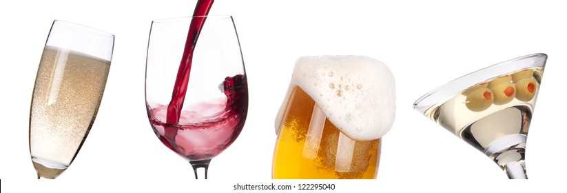 different images of alcohol isolated - beer,martini,champagne,wine,juice