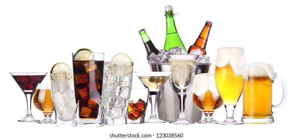 different images of alcohol isolated - beer,martini,soda,champagne,whiskey