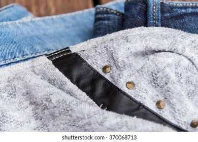 different jeans closeup detail textil backround