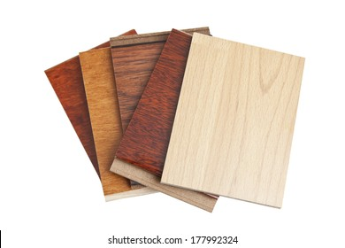 Different kind of hardwood flooring samples isolated on white