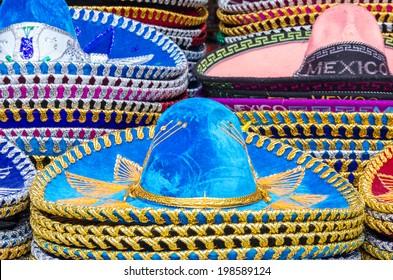 Different kind of original mexican sombrero
