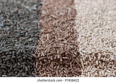 Different kind of pellets- sunflower,pine,beech,