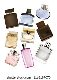 Different kind of perfume bottles floating and isolated against white background