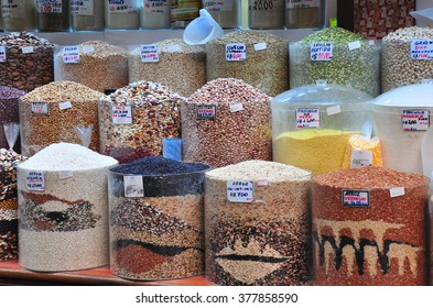 Different kind of spices and beans at Municipal Market in Sao Paulo, Brazil