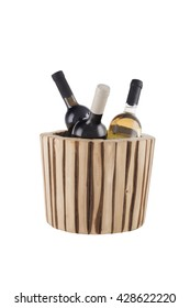 Different kind of wine bottles in  wooden box isolated on white in studio shooting