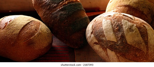Different kinds of bread in the bakery