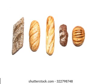 Different kinds of bread isolated on white