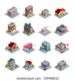 Different kinds of buildings isometric icons set with church stores and houses of different design on white background isolated  illustration