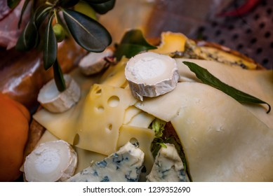 Different kinds of cheese on the cheese plate