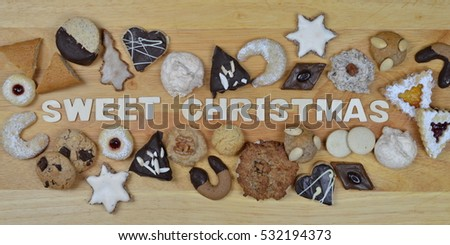 Different Kinds Christmas Cookies On Breadboard Stock Photo Edit