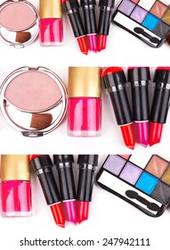 different kinds of cosmetics on a white background
