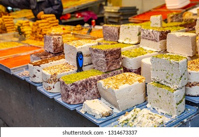 Different kinds of halva in  Jerusalem market. Mahane Yehuda Market