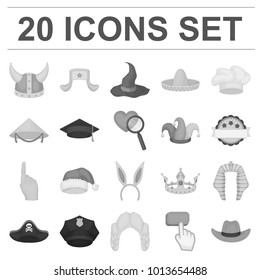 Different kinds of hats monochrome icons in set collection for design.Headdress bitmap symbol stock web illustration.