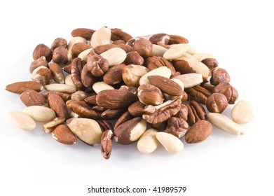 Different kinds of nuts; isolated on white.