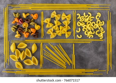 Different kinds of pasta. Background of food ingredients. Image of the concept of advertising in a restaurant or market.A place to copy text around objects