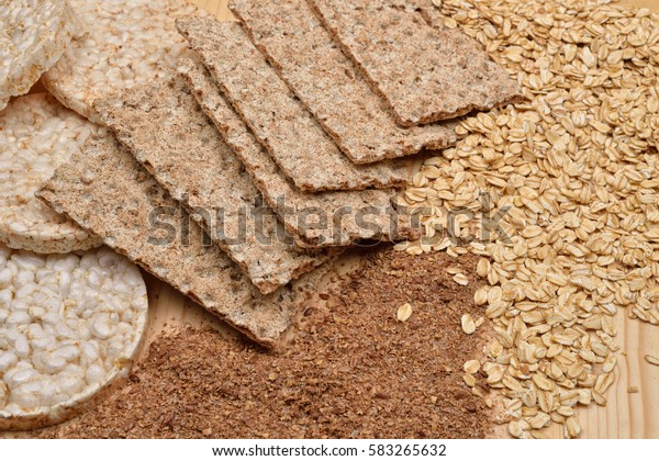 Different Kinds Products Made Wheat Expanded Stock Photo