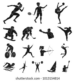 Different kinds of sports black icons in set collection for design. Athlete, competitions bitmap symbol stock web illustration.