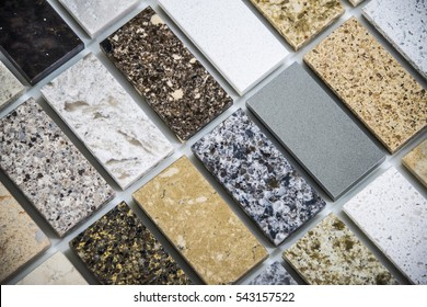 different kitchen countertop color samples made of granite and marble natural stone