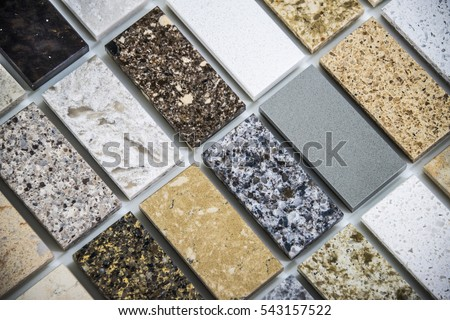 Different Kitchen Countertop Color Samples Made Stock