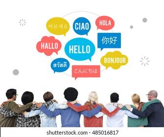 Different Language Speech Bubble Hello Concept