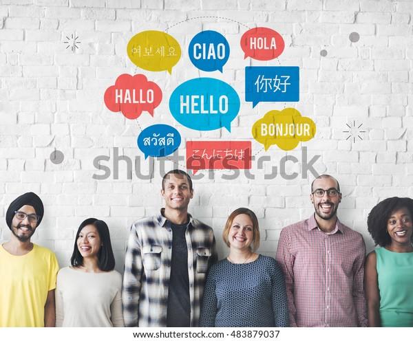 Разный язык речи Пузырь Привет Концепция