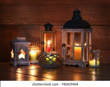 Different lanterns with candles