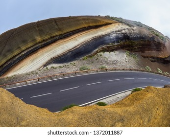 Different layers of volcanic ashes on the road from Teide to Esperanza on Tenerife. Tarta