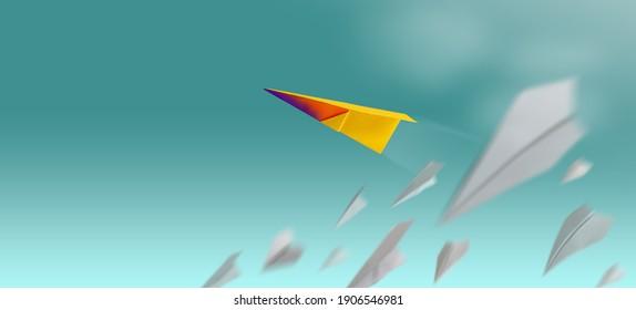 Verschiedenes, Leader Individuality Konzept. Einzigartige Papiertafel, die in den Himmel fliegt, während die Gruppe der Versager sinkt. Metapherfoto