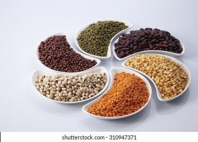 different legumes - lentils, beans and peas