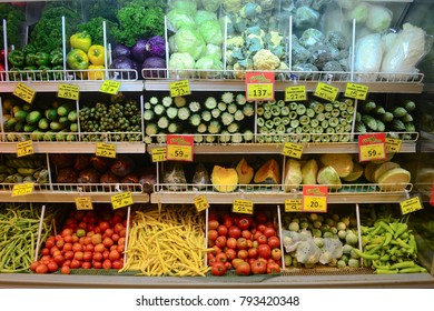 Different local vegetables with prices in grocery supermarket in Kandy, Sri Lanka
