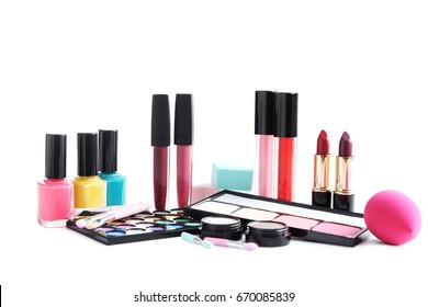 Different makeup cosmetics isolated on a white background