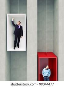 different man on 3d elevator