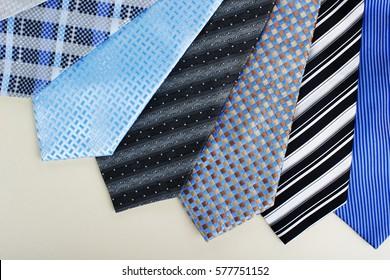 Different  man ties close-up