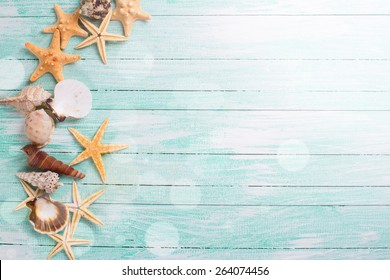 Different Marine Items In Ray Of Light On Turquoise Wooden Background Sea Objects S S