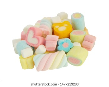 Different marshmallow candies isolated on white background