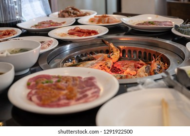 Different meat and shrimp for Bar B Que buffet grill in buffet restaurant