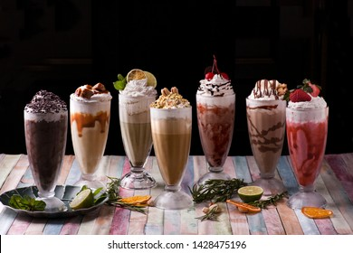 Different milkshakes assorted summer cold milkshakes