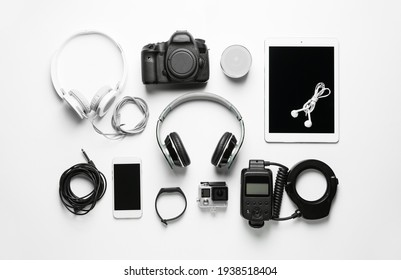 Different modern devices on white background