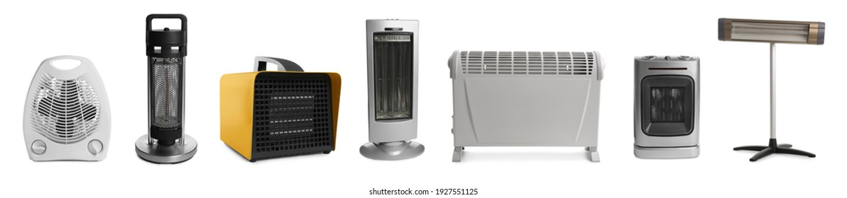 Different modern electric heaters on white background, collage. Banner design