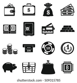 Different money icons set. Simple illustration of 16 different money  icons for web